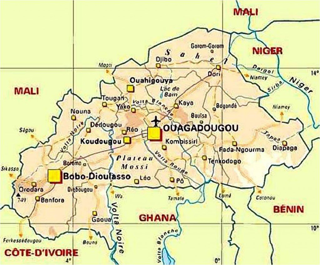 Séjour solidaire au Burkina Faso du 27 octobre au 11 novembre 2012 carte